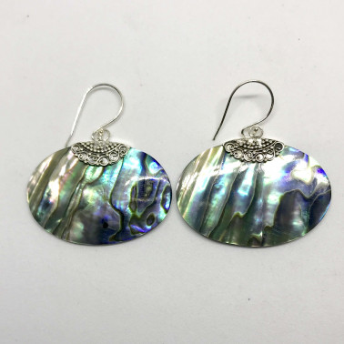 ER 13688 AB-BALI SILVER EARRINGS WITH ABALONE