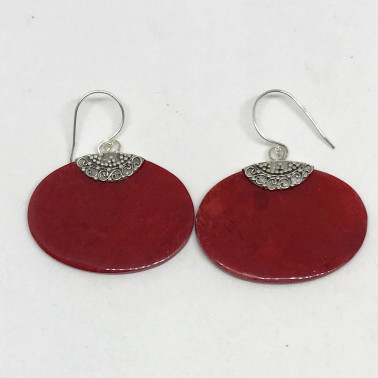 ER 13688 CR-BALI SILVER EARRINGS WITH RED CORAL