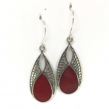ER 13242 CR-BALI SILVER EARRINGS WITH RED CORAL