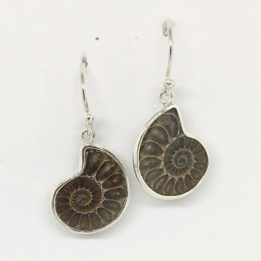 ER 09474 B-AT-BALI SILVER EARRINGS WITH AMONITE