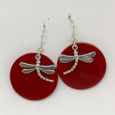ER 12931 CR-(925 BALI SILVER DRAGONFLY EARRINGS WITH RED CORAL)