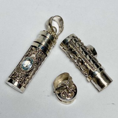 PD 14595 BT-( PERFUME PRAYER PILL BOX 925 BALI SILVER PENDANT WITH TOPAZ)