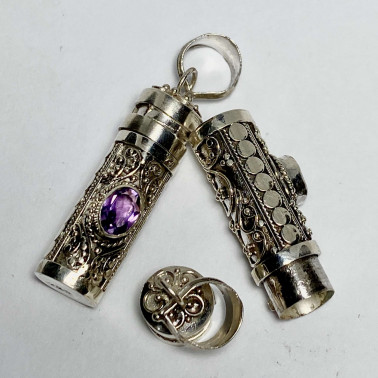 PD 14595 AM-( PERFUME PRAYER PILL BOX 925 BALI SILVER PENDANT WITH AMETHYST )