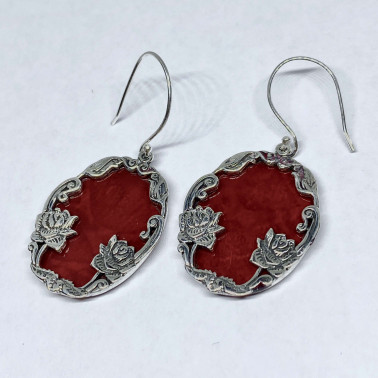 ER 14529 CR-(HANDMADE 925 BALI SILVER DAISY LOTUS EARRINGS WITH CORAL)
