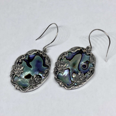 ER 14529 AB-( HANDMADE 925 BALI SILVER DAISY LOTUS EARRINGS WITH  ABALONE)