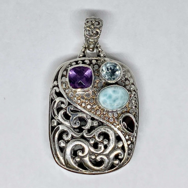 PD 14740 MX-(HANDMADE BALI SILVER PENDANT WITH MIX GEMSTONES)