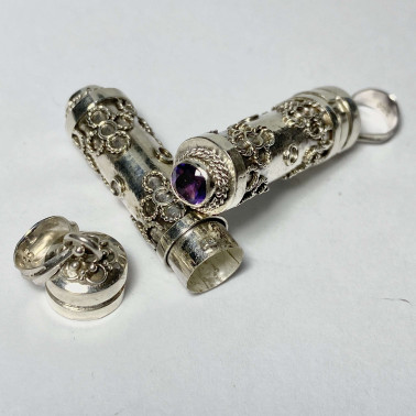 PD 09648 AM-PERFUME PRAYER PILL BOX 925 BALI SILVER PENDANT WITH AMETHYST