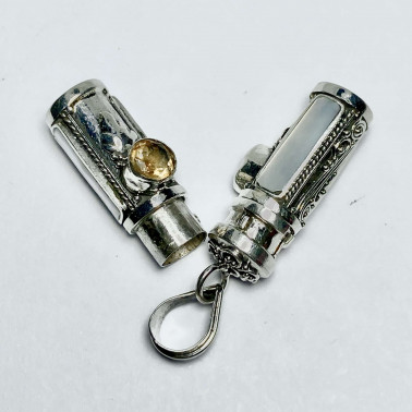PD 14590 MP-CT-PERFUME PRAYER PILL BOX 925 BALI SILVER PENDANT WITH MOP CITRINE