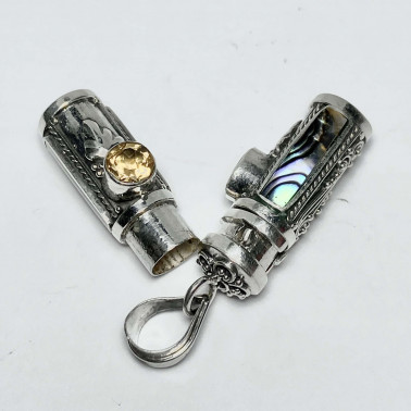 PD 14590 AB-CT-PERFUME PRAYER PILL BOX 925 BALI SILVER PENDANT WITH ABALONE CITRINE