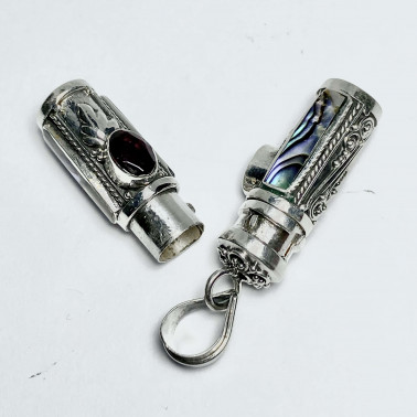 PD 14590 AB-GR-PERFUME PRAYER PILL BOX 925 BALI SILVER PENDANT WITH ABALONE GARNET
