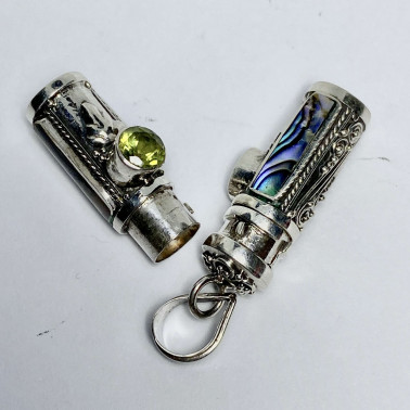 PD 14590 AB-PD-PERFUME PRAYER PILL BOX 925 BALI SILVER PENDANT WITH ABALONE PERIDOT