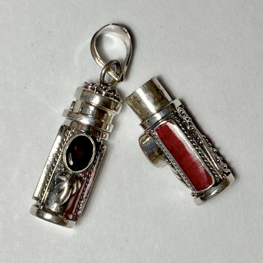 PD 14590 CR-GR-PERFUME PRAYER PILL BOX 925 BALI SILVER PENDANT WITH CORAL GARNET