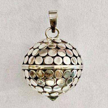 BD 13548 SC-(HANDMADE 925 BALI SILVER HARMONY BALL ARMADILLO PENDANT WITH ZIRCONIA 22 MM)