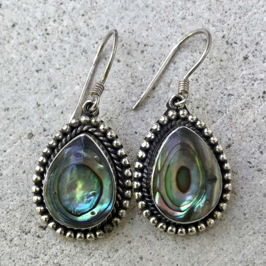 ER 08604 AB-(925 BALI SILVER EARRINGS WITH ABALONE)