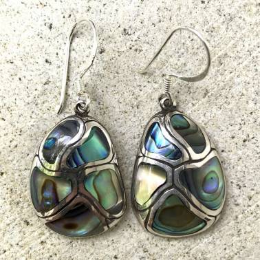 ER 07807 AB-BALI SILVER EARRINGS WITH ABALONE