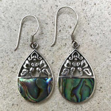 ER 12315 AB-BALI SILVER EARRINGS WITH ABALONE