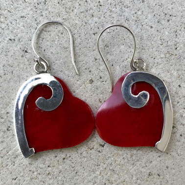 ER 08150 CR-BALI SILVER EARRINGS WITH RED CORAL