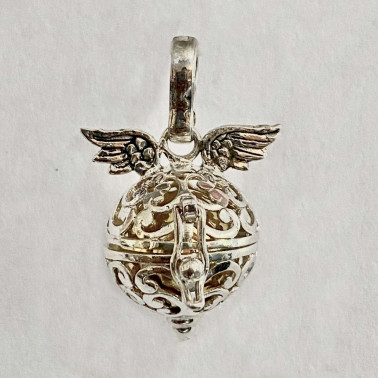 BD 09357-(HANDMADE 925 BALI SILVER HARMONY BALL WINGS PENDANT 13 MM)