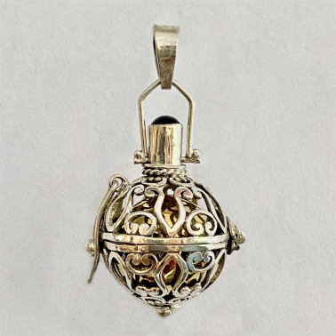 BD 13073-(HANDMADE 925 BALI SILVER HARMONY BALL PENDANT WITH MIX STONE 16 MM)