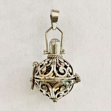BD 12961-(HANDMADE 925 BALI SILVER HARMONY BALL PENDANT WITH MIX STONE 16 MM)