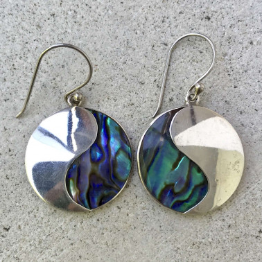 ER 11760 AB-BALI SILVER EARRINGS WITH ABALONE