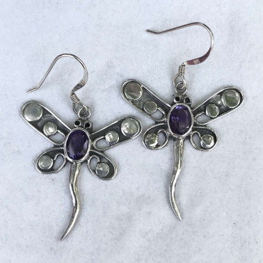 ER 09270 AM-(HANDMADE 925 BALI STERLING SILVER DRAGONFLY EARRINGS WITH AMETHYST)