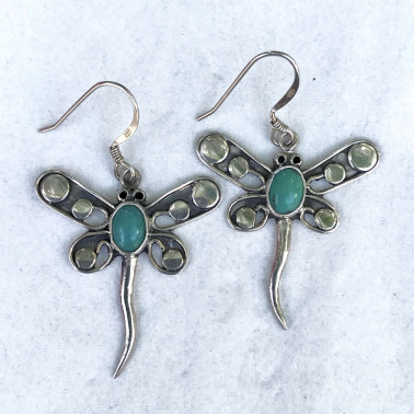 ER 09270 TQ-(HANDMADE 925 BALI STERLING SILVER DRAGONFLY EARRINGS WITH TURQUOISE)