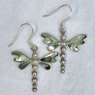 ER 10003 AB-BALI SILVER EARRINGS WITH ABALONE