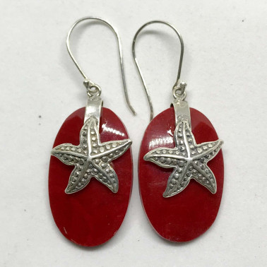 ER 13622 CR-BALI SILVER EARRINGS WITH RED CORAL
