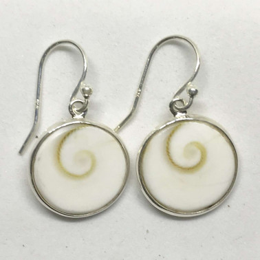 ER 11566 S-(UNIQUE 925 BALI SILVER EARRINGS WITH SHIVA EYES SHELL)