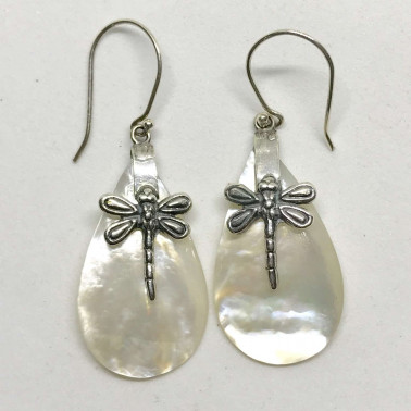 ER 13624 MP-(HANDMADE 925 BALI SILVER DRAGONFLY EARRINGS WITH MOTHER OF PEARL)