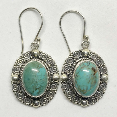 ER 12479 TQ-(HANDMADE 925 BALI SILVER EARRINGS WITH TURQUOISE)