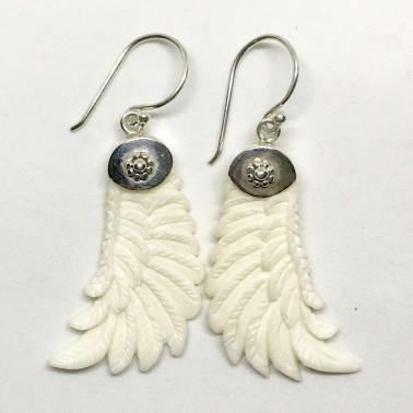 ER 11523 BN-(HANDMADE 925 BALI SILVER ANGEL WINGS EARRINGS WITH BONE)