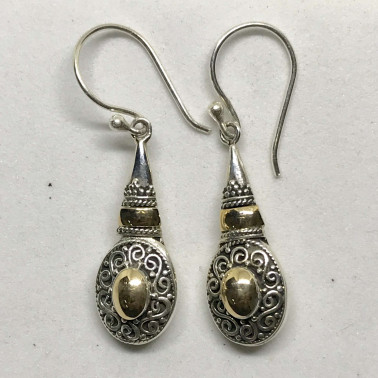ER 12528 -BALI SILVER EARRINGS WITH GOLD
