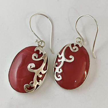 ER 12379 CR-BALI 925 STERLING SILVER EARRINGS WITH CORAL