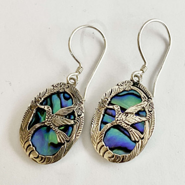 ER 07244 AB-BALI 925 STERLING SILVER BIRD EARRINGS WITH ABALONE