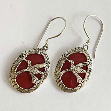 ER 07244 CR-BALI 925 STERLING SILVER BIRD EARRINGS WITH CORAL
