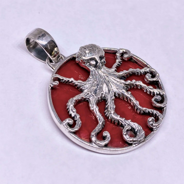 PD 14699 CR-(UNIQUE 925 BALI SILVER OCTOPUS PENDANT WITH CORAL)