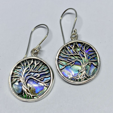 ER 014749 AB-BALI 925 STERLING SILVER BIRD EARRINGS WITH ABALONE