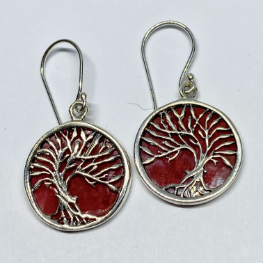 ER 14749 CR-BALI 925 STERLING SILVER BIRD EARRINGS WITH CORAL