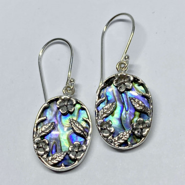 ER 14751 AB-BALI 925 STERLING SILVER BIRD EARRINGS WITH ABALONE