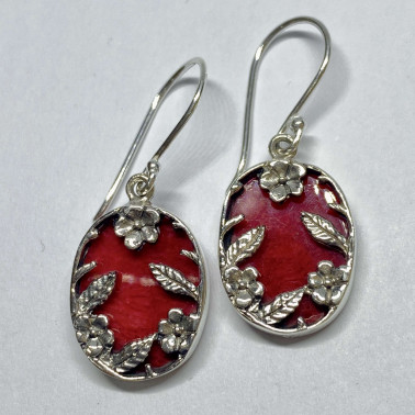 ER 14751 CR-BALI 925 STERLING SILVER BIRD EARRINGS WITH CORAL