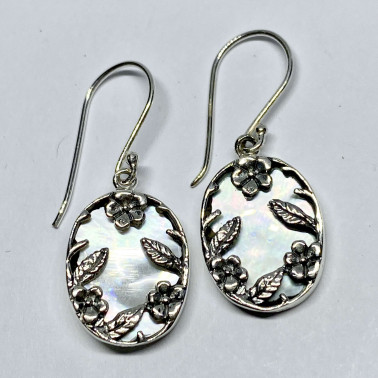 ER 14751 MP-BALI 925 STERLING SILVER EARRINGS WITH MOP