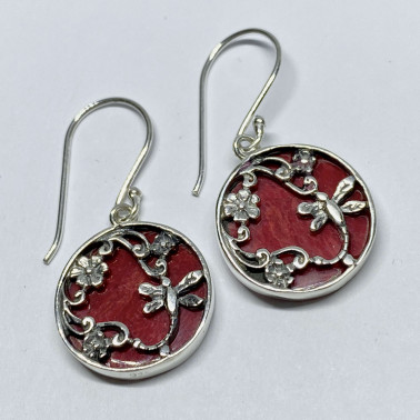 ER 14750 CR-BALI 925 STERLING SILVER EARRINGS WITH CORAL