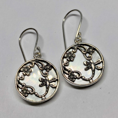 ER 14750 MP-BALI 925 STERLING SILVER EARRINGS WITH MOP