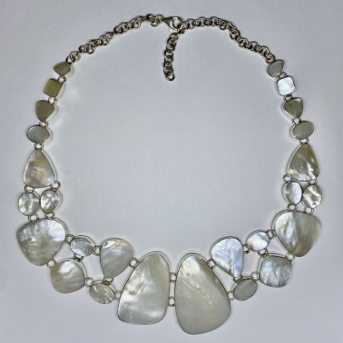 NK 05556 MP-(HANDMADE BALI 925 STERLING SILVER NEKLACES WITH MOTHER OF PEARL)
