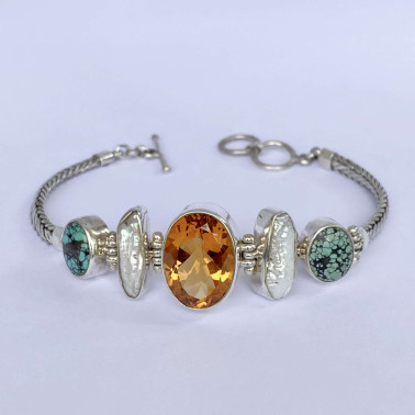 BR 14479 A-MX-(HANDMADE 925 BALI SILVER CHAIN BRACELET WITH MIX GEMSTONES)