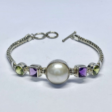 BR 14094 MX-(HANDMADE 925 BALI SILVER CHAIN BRACELET WITH MIX GEMSTONES)