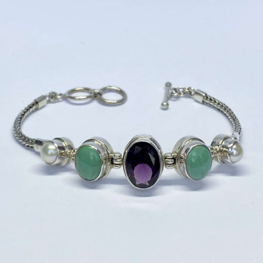 BR 14093 MX-(HANDMADE 925 BALI SILVER CHAIN BRACELET WITH MIX GEMSTONES)