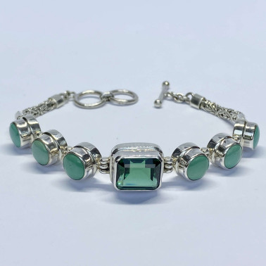 BR 14478 A-MX-(HANDMADE 925 BALI SILVER CHAIN BRACELET WITH MIX GEMSTONES)